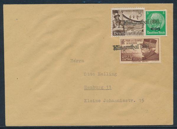 Elsaß Provisorischer Stempel Klingenthal auf Brief