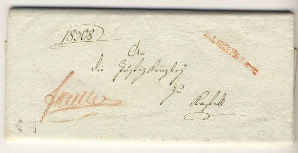 Bamberg 1807 Vorphila-/Altbeleg seltener Stempel