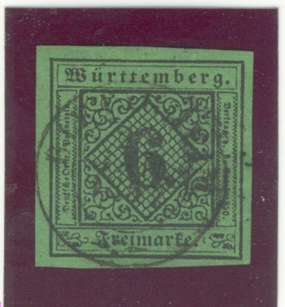 Württemberg Mi.Nr.3 b gestempelt geprüft BPP