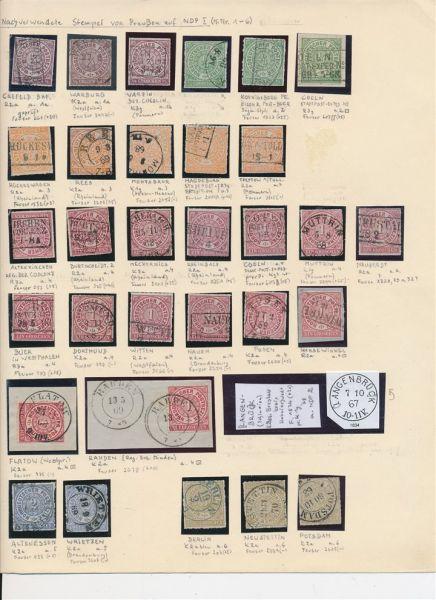 Preussen Sammlung von nachverwendeten Stempeln auf NDP
