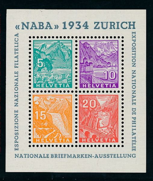 Schweiz Block 1 ** Luxus Fotoattest Verbandsprüfer