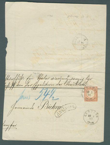Deutsches Reich Mi.Nr.21 auf alter Rechnung Herborn