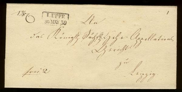 Luppe Sachsen 1839 Vorphila-/Altbeleg Sehr selten