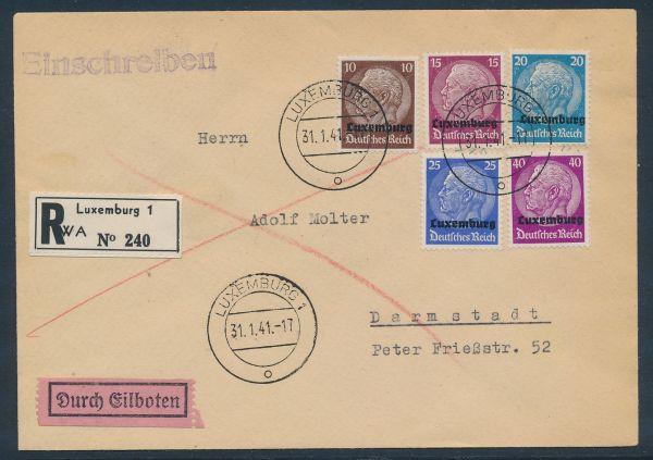Luxemburg Mi.Nr.6,8,9,10+12 Einschreiben + Eilboten+AK